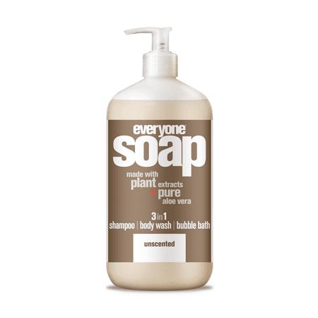 Spa Bath Body Hair Shampoo (Everyone 3-in-1 Soap Unscented Shampoo Body Wash Bubble Bath 32 oz. )