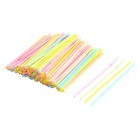 Décoration fête Plastique Souple à Usage Unique décor Jambe pailles Boisson Couleur Assorties 200pcs - image 3 de 3