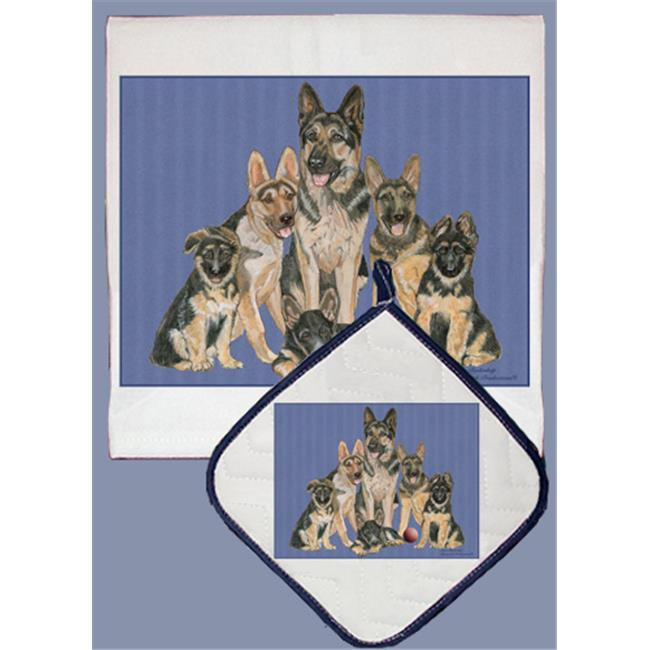 Pipsqueak Productions DP562 Dish Towel and Pot Holder Set - German Shepherd