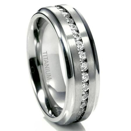 Sz 10.0 Men's 7MM Eternity Titanium Ring Wedding Band with CZ