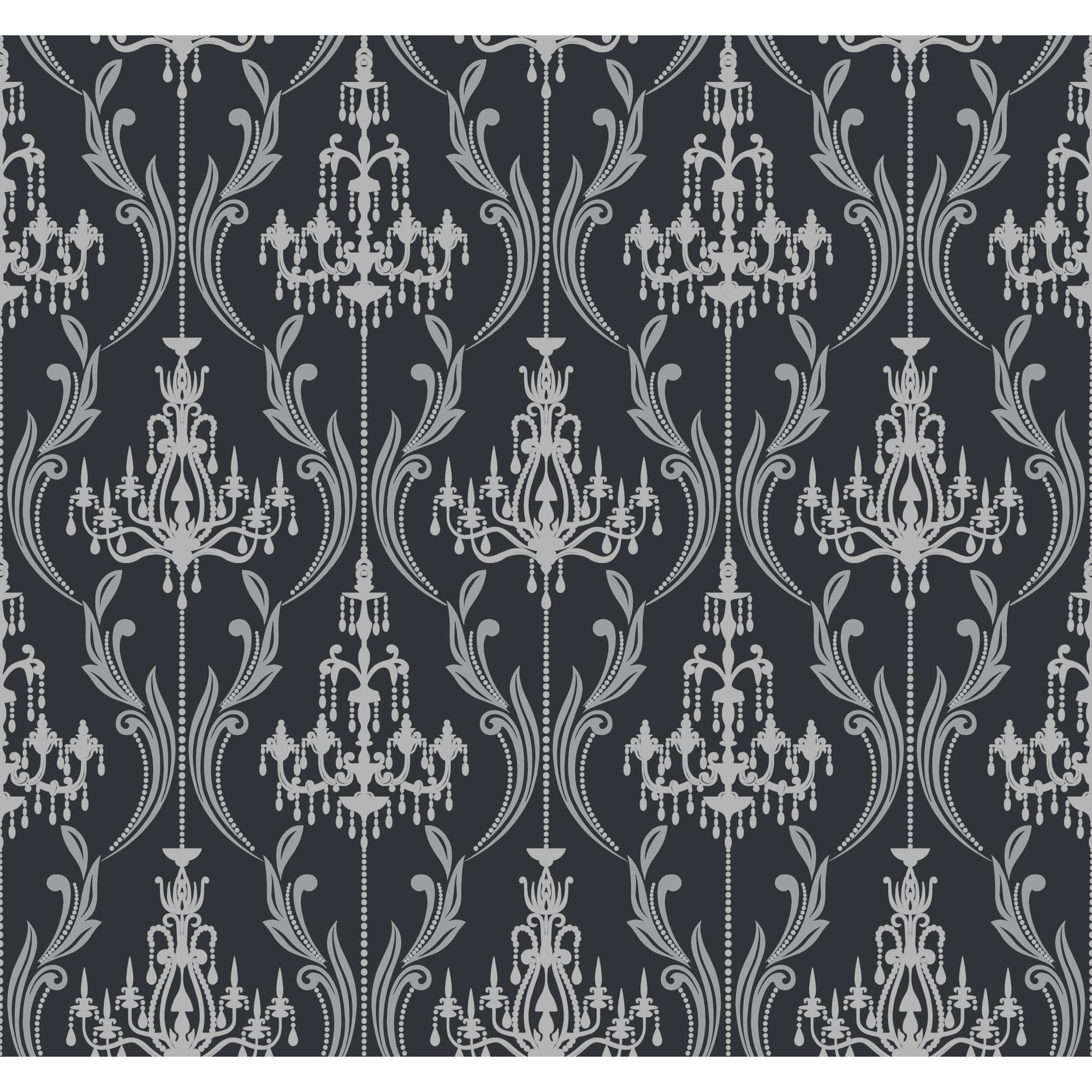 Black & White Chandelier Damask Wallpaper