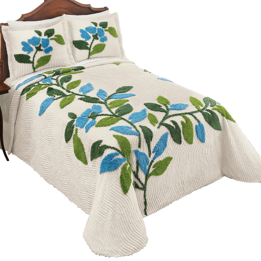 Sonesta Chenille Tufted Floral Bedspread, Ivory Background with Blue Flowers and Greenery - Seasonal Bedroom Décor, King, Multi