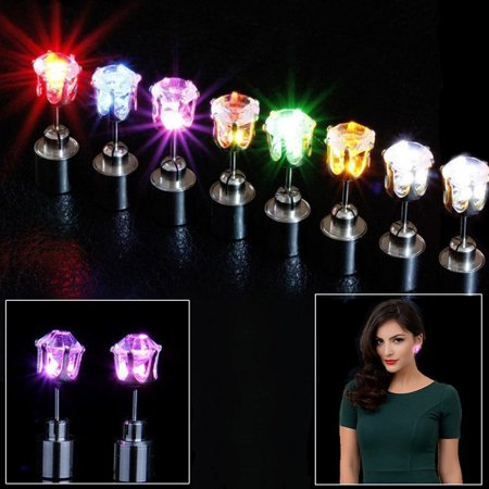 Dazzling Toys Glowing Diamond Shaped Led Earrings 4 Pairs Colors