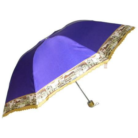 Outdoor Handy Foldable Purple Nylon Western Town Print Rain Sun Umbrella - image 1 de 1