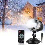 Snowfall Christmas Projector Lights, LED Halloween Waterproof Outdoor Indoor Motion Landscape Snowflake Projector Lamp, Wireless Remote for Landscape Lights Xmas Theme Party Yard Garden Decorations