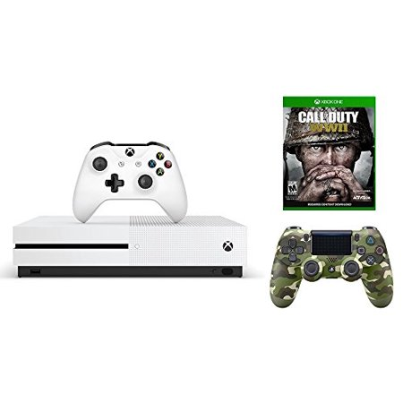 Microsoft Xbox One S Bundle  3 Items   Microsoft Xbox One S 500 Gb   Robot White  Dualshock4 Wireless Controller   Green Camo And Cod Call Of Duty  Wwii   Xbox One Standard Edition
