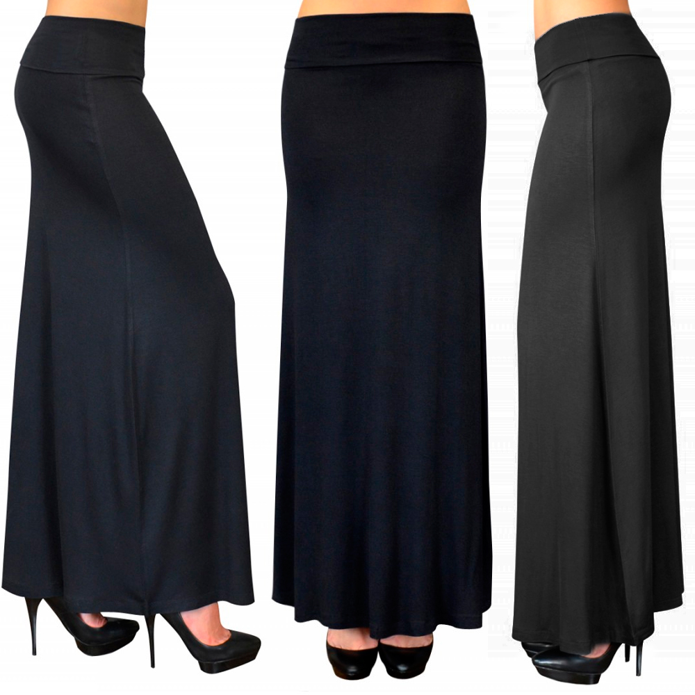 Solid Long Maxi Skirt Waist Foldover Full Length Light Rayon Spandex Black Grey
