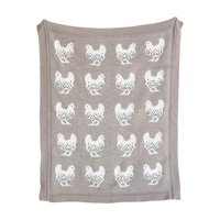 Tan Cotton Knit Rooster Blanket by 3R Studios
