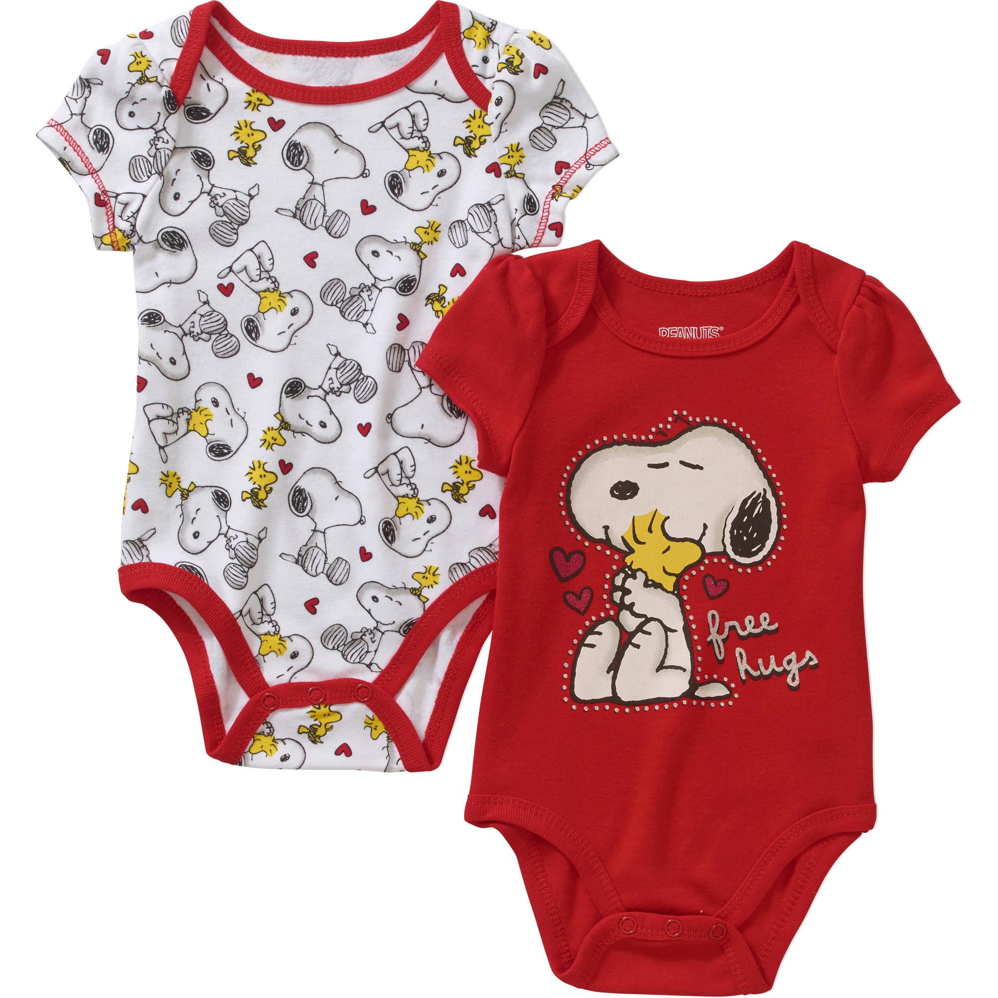 Peanuts Newborn Baby Girls Snoopy Short Sleeve Bodysuit 2
