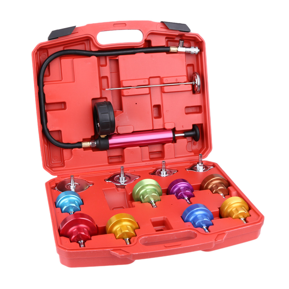 14PCS Radiator Pressure Tester Kit Cooling System Test Detector Set Pump tools With Case by
