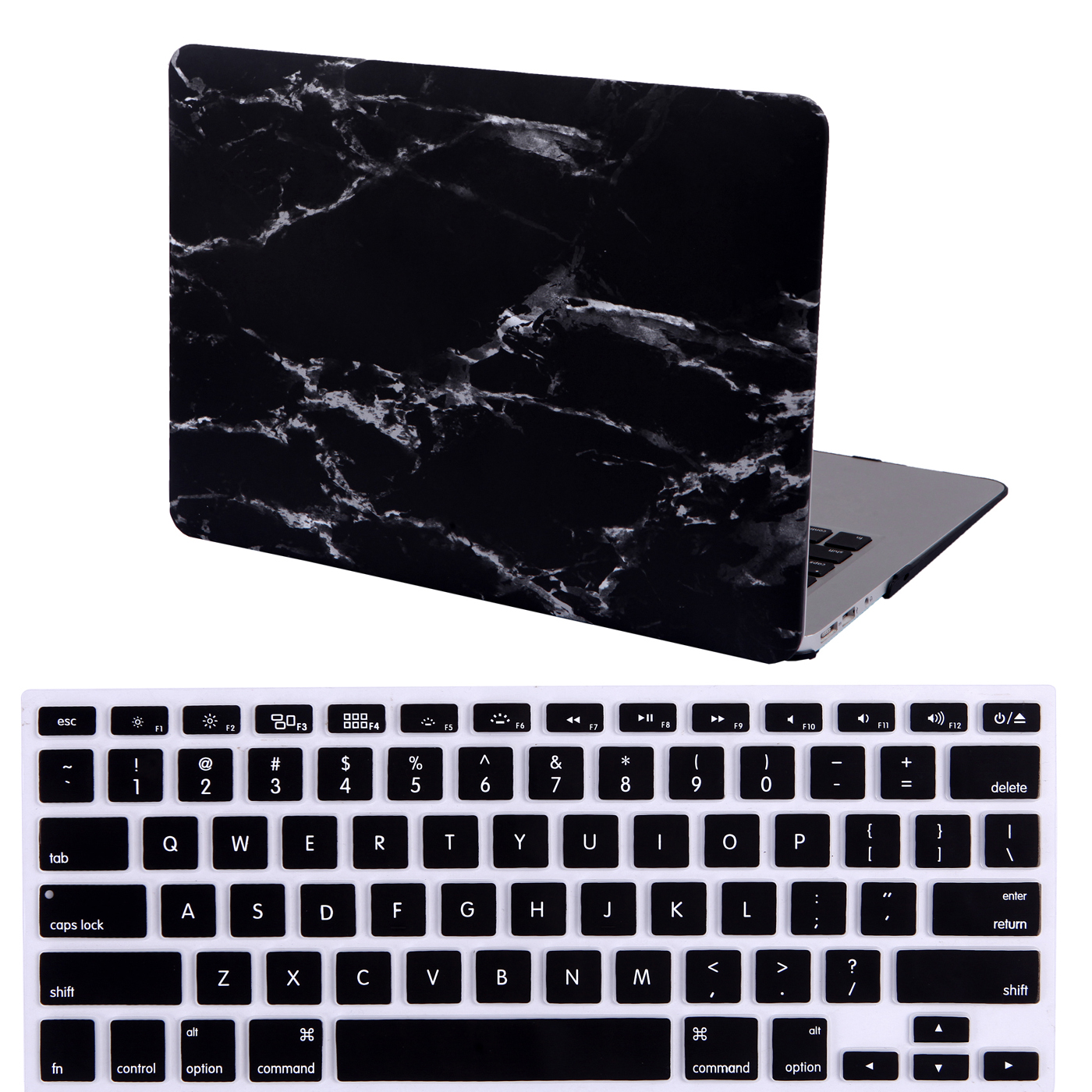 "HDE MacBook Air 13"" Case Hard Shell Cover Designer Print + Keyboard Skin Fits 13.3 Inch Mac Air Notebook Model A1369/A1466 (Black and White Marble)"