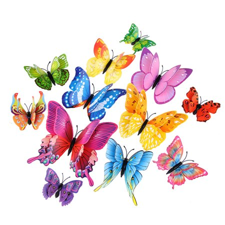 MINI-FACTORY 12PCs 3D Vivid Butterfly Wall Decoration DIY Art Craft Decor Stickers Kid's Room for Girls - (Art And Craft Ideas For Room Decoration)