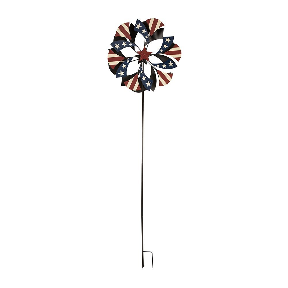 Glitzhome Handcrafted Iron Patriotic Windmill Garden Yard Stake by Glitzhome