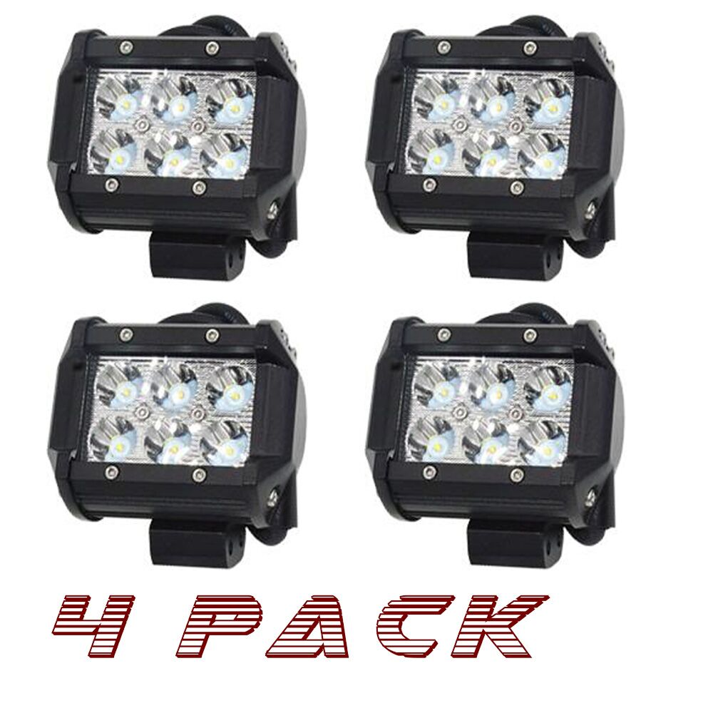 4X 3Inch 18W Led Work Light Offroad Cube Pods Spot Lamp For Jeep ATV UTV