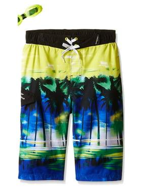 Little & Big Boys Tropical Swim Trunks Board Shorts