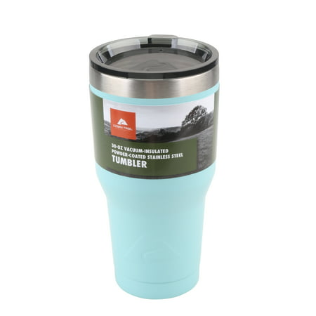 Ozark Trail Double-Wall Vacuum-sealed Stainless Steel Tumbler, Light Blue, 30 oz