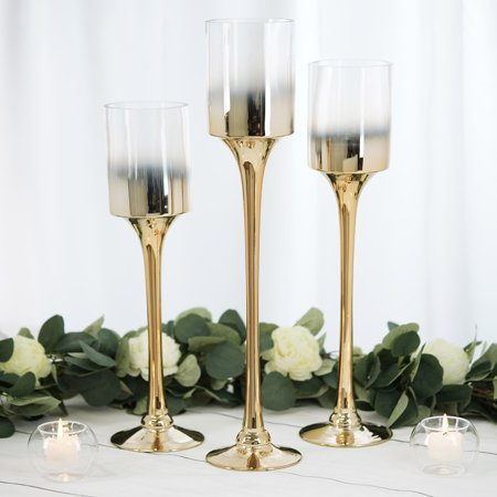Chrome Pillar Covers (BalsaCircle 3 Ombre Glass Long Pillar Candle Holders - Party Wedding Dining Reception Event Centerpieces Home Wholesale Decorations )