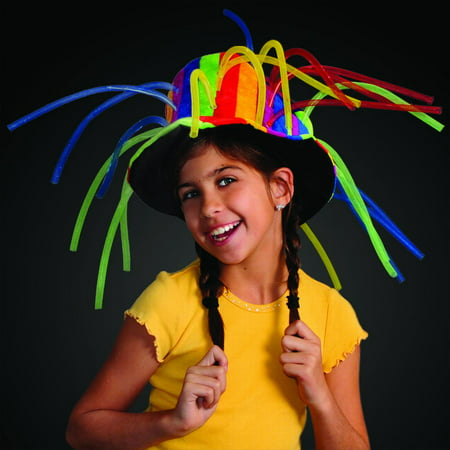 FlashingBlinkyLights Funny Clown Top Hat with Lights & Noodle Hair - Funny Golf Hats With Hair