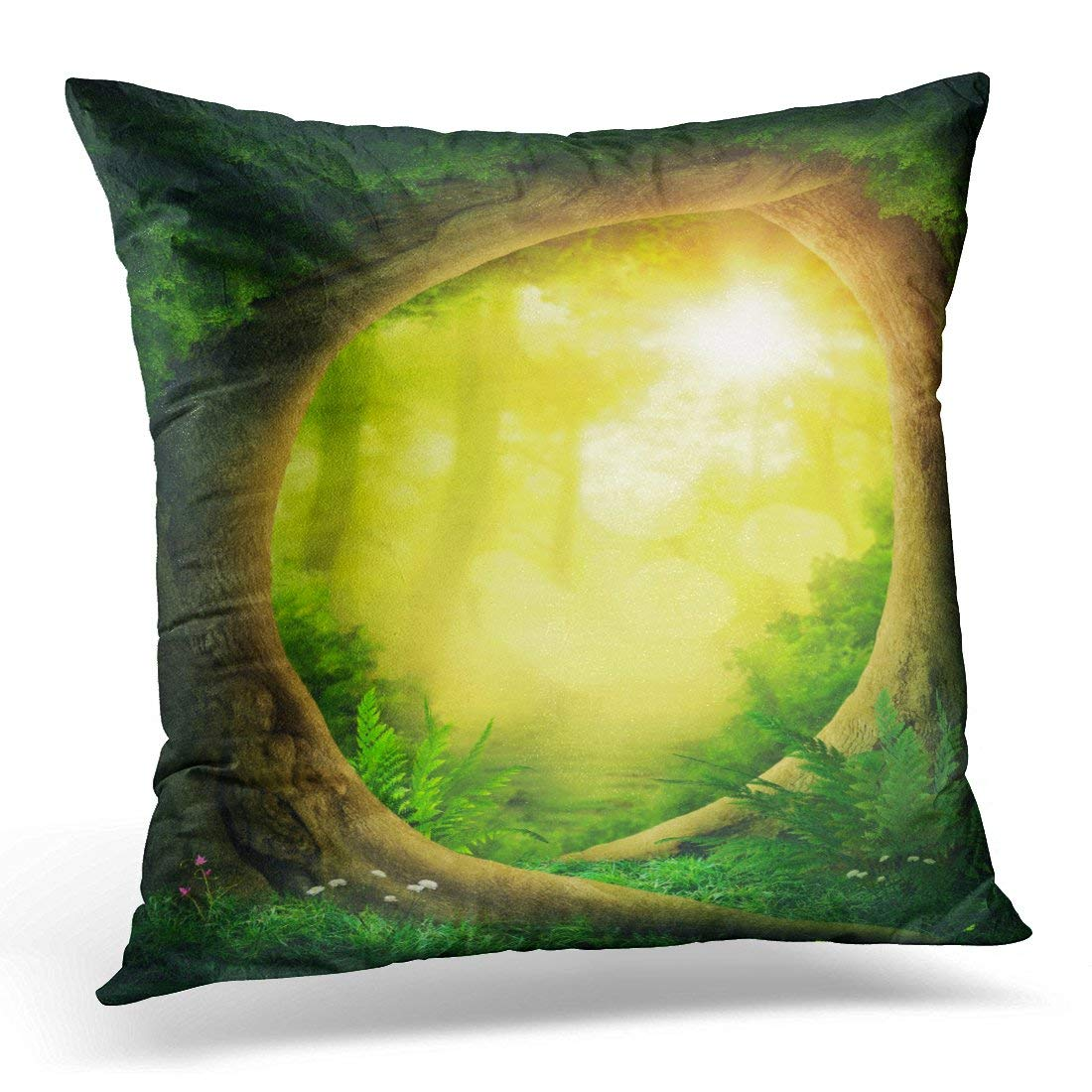 CMFUN Green Dreamy Dark Magic Forest with Sunshine Yellow Enchanted Throw Pillow Case Pillow Cover Sofa Home Decor 16x16 Inches