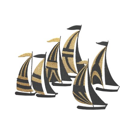 ID 5070 Gold Sail Boats Large Patch Ocean Sea Race Embroidered Iron On Applique
