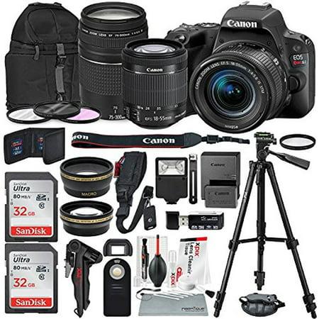 Canon EOS Rebel SL2 DSLR Wi-Fi Camera with EF-S 18-55mm STM Lens (Black) Bundle w/ EF 75-300mm f/4-5.6 III Lens + 32GB + Xpix Tripods & Cleaning Kit +