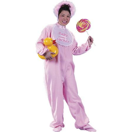 Morris Costumes Mens Be My Baby Pink Adult Front-Zip Pajama Jumpsuit Halloween Costume](Halloween Front)