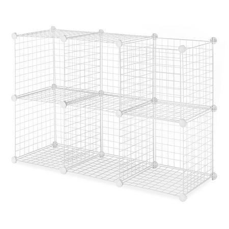 Whitmor Storage Cubes - Stackable Interlocking Wire Shelves - Set of 6 - White - 14.25