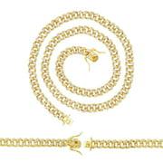 "BEBERLINI CZ Curb Necklace 14K Gold Plated Cubic Zirconia Cuban Link 24"" Chain Men Women Fashion Jewelry 8 mm Copper"