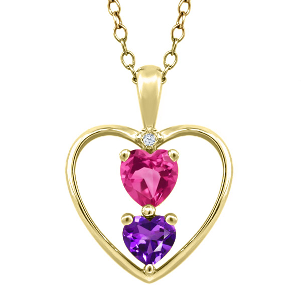 0.71 Ct Heart Shape Pink Mystic Topaz Purple Amethyst 14K Yellow Gold Pendant by