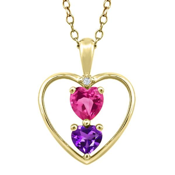 0.71 Ct Heart Shape Pink Mystic Topaz Purple Amethyst Gold Plated Silver Pendant