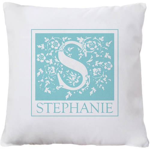 Personalized Initial Throw Pillow, Available in Pink or Teal