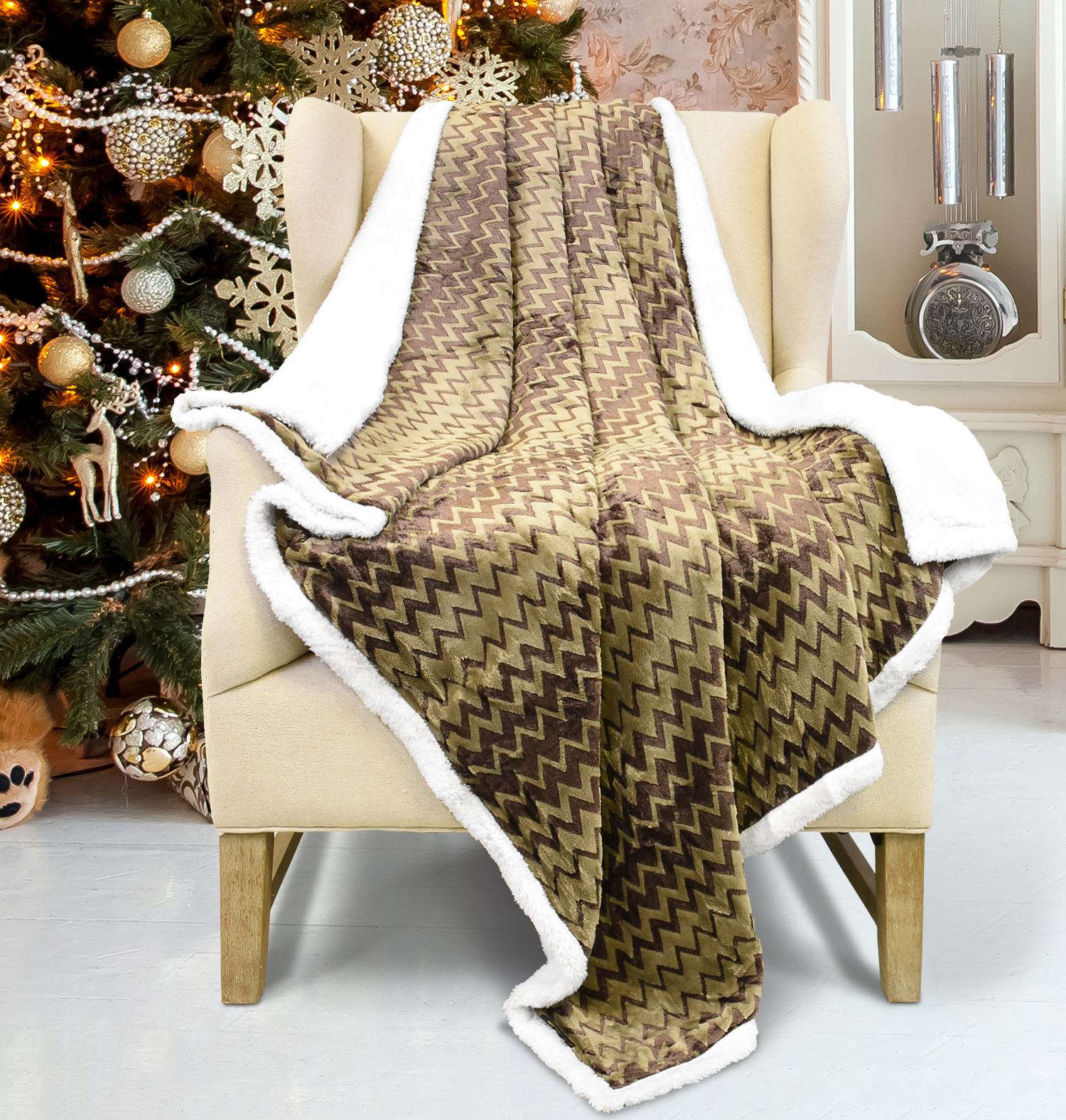 Xmas Throw Blanket Super Soft Flannel Plush Bed Throw TV Blanket Reversible
