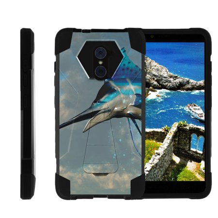 TurtleArmor ® | For ZTE Kirk | Imperial Max | Max Duo | Grand X Max 2 [Dynamic Shell] Dual Layer Hybrid Silicone Hard Shell Kickstand Case - Jumping Marlin