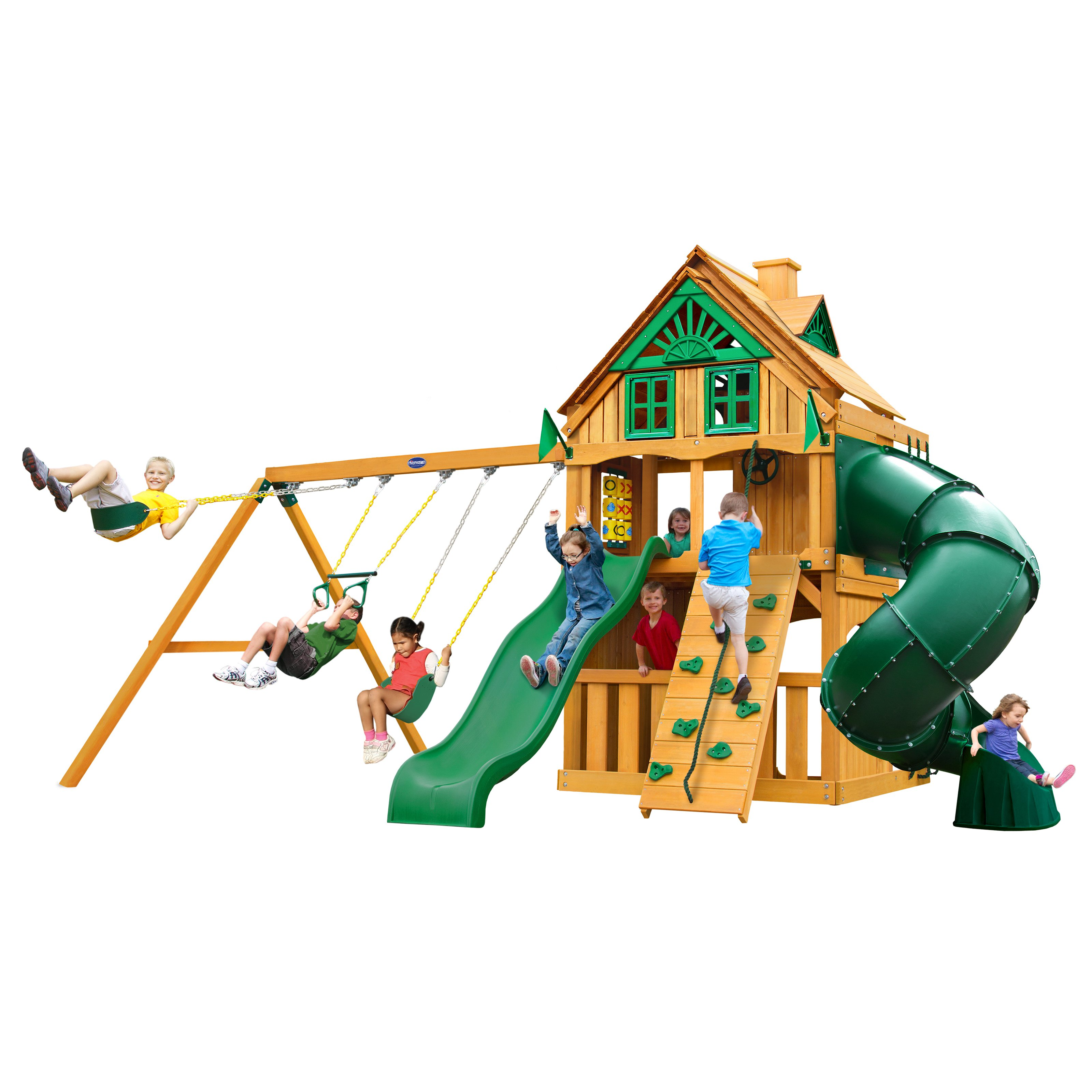 Gorilla Playsets Mountaineer Clubhouse Treehouse Swing Set with Fort Add-On