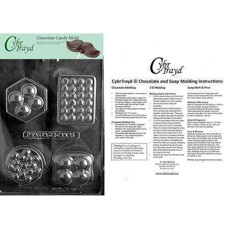 4 Shape Massage Bar Chocolate Candy Mold with Exclusive Cybrtrayd Copyrighted Molding Instructions (Massage Bar Mold)