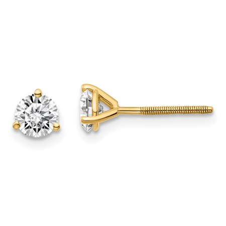 14k Yellow Gold 3/4ctw Vs/si D E F Lab Grown Diamond 3 Prg Screwbk Earrings Stud Gifts For Women For Her (E Earrings)
