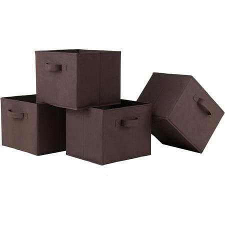 - Foldable Fabric Baskets, Chocolate, Set of 4