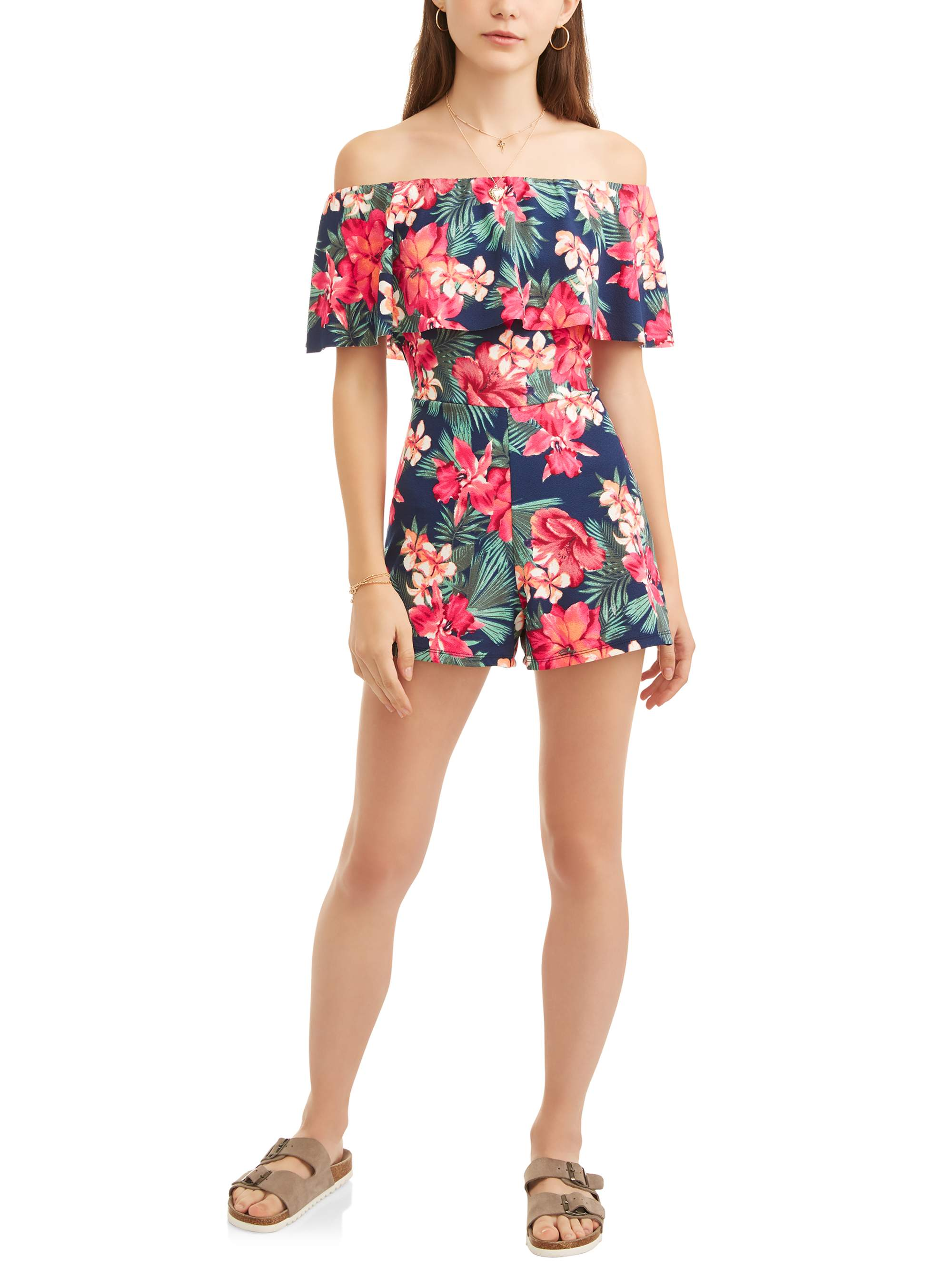 Almost Famous Juniors' Off the Shoulder Ruffle Romper