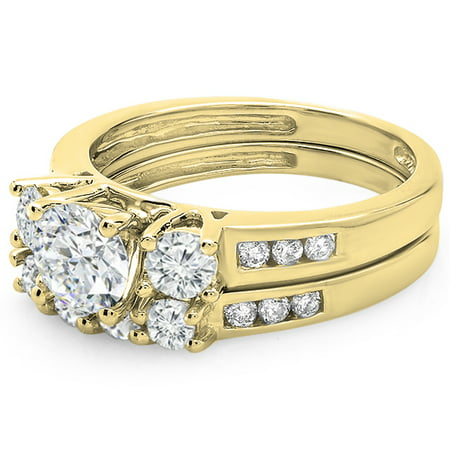 Dazzlingrock Collection 1.80 Carat (ctw) 14K Round Diamond Ladies Bridal 3 Stone Engagement Ring Band Set, Yellow Gold, Size 8
