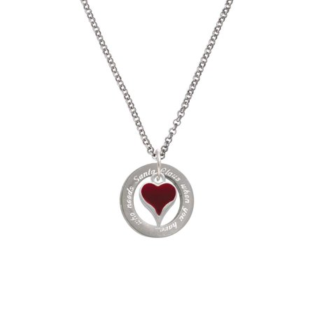 Silvertone Small Long Maroon Heart You Needs Santa Affirmation Ring Necklace](Maroon Necklace)