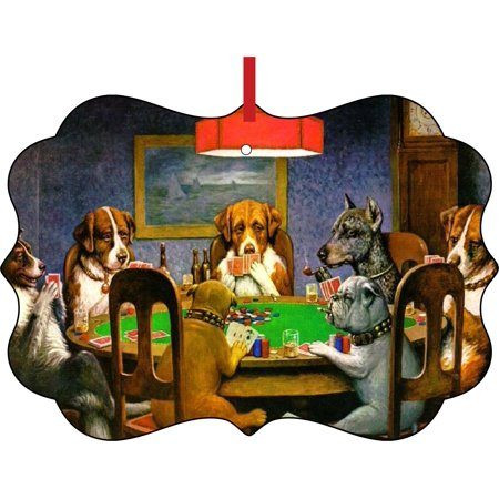 C.M. Coolidge's Dogs Playing Poker Painting Double Sided Elegant Aluminum Glossy Christmas Ornament Tree Decoration - Unique Modern Novelty Tree Décor Favors - Painting Christmas Ornaments