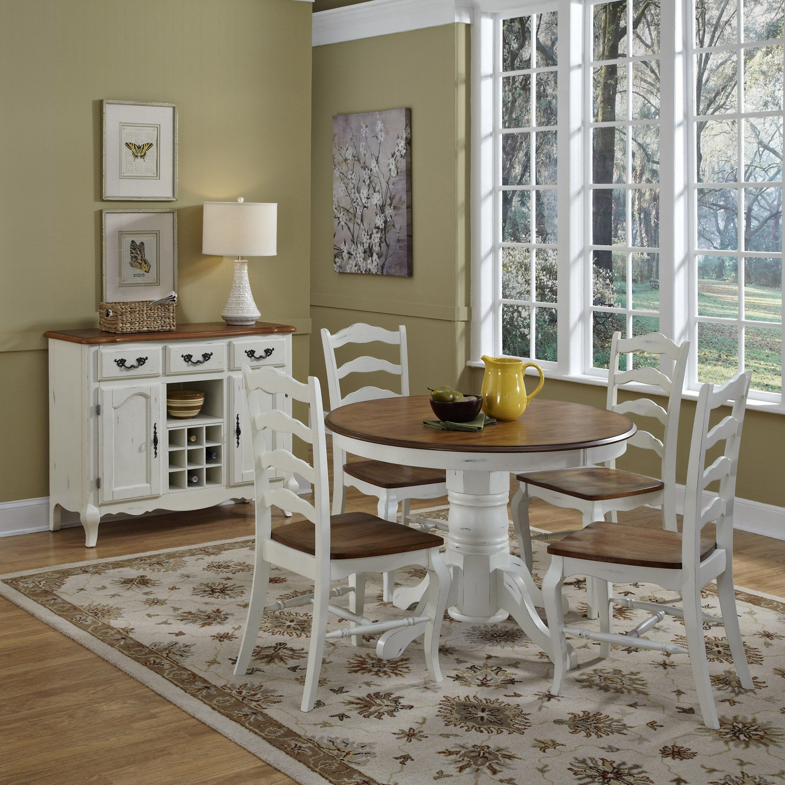 Home Styles French Countryside Oak Pedestal Table Off White - Walmart.com & Home Styles French Countryside Oak Pedestal Table Off White ...