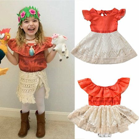 Biker Chick Fancy Dress (Toddler Baby Girls Moana Costume Polynesian Princess Fancy Dress Sundress)