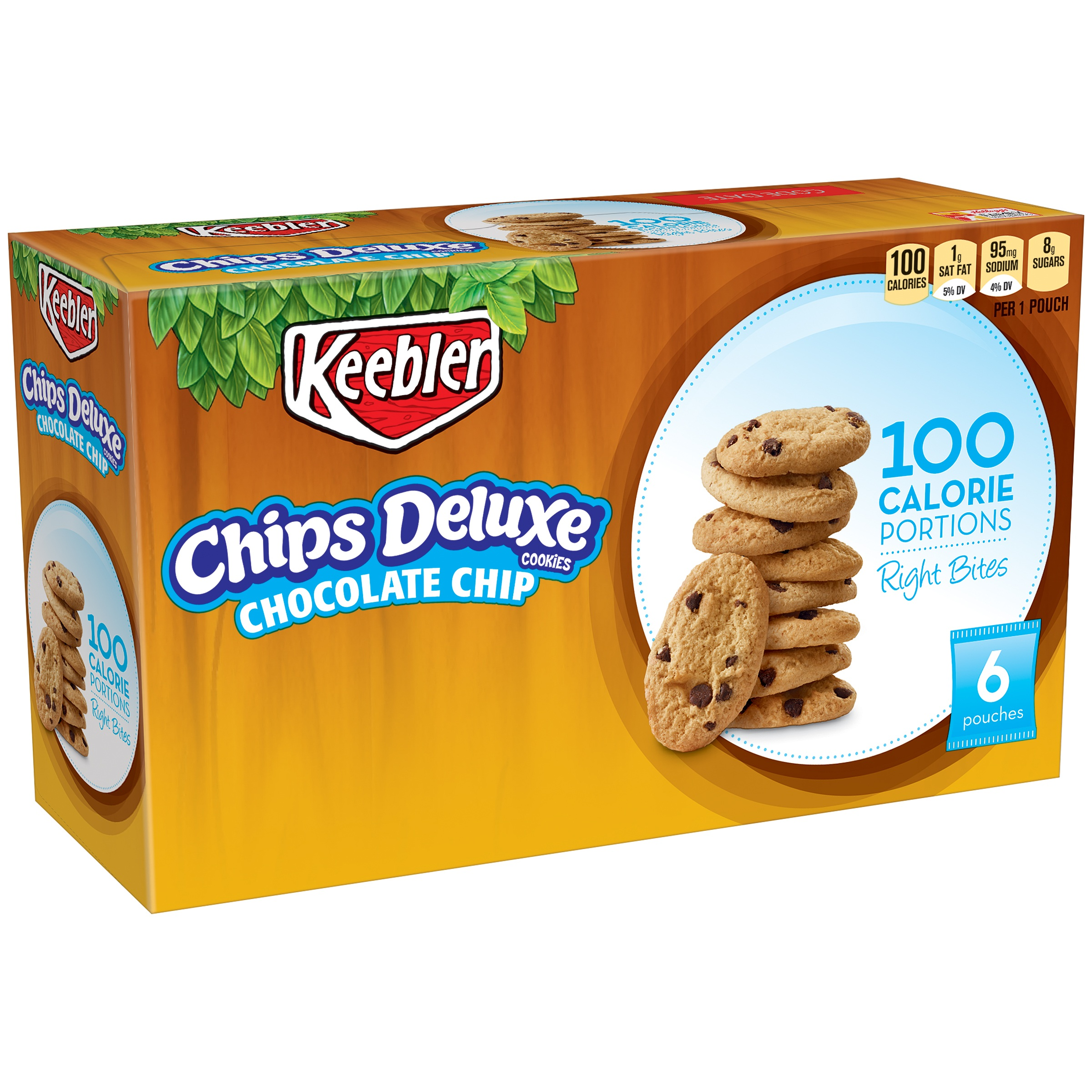 Keebler® 100 Calorie Right Bites® Chips Deluxe® Chocolate Chip Cookies 6-0.74 oz. Pouches