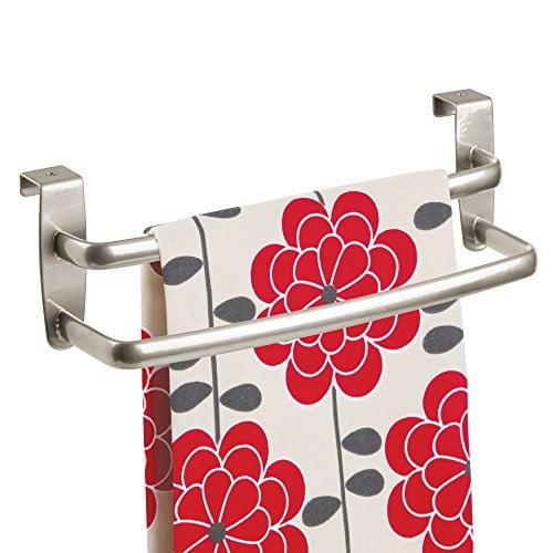 "Dark Gray 2 Pack 9.8/"" Wide mDesign Metal Kitchen Over Cabinet Towel Bar Rack"