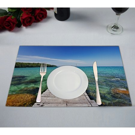 GCKG Tropical Seascape Placemat, Nautical Ocean Wooden Dock Bridge to Water Waves in Summer Placemat 12x18 Inch,Set of 2 ()