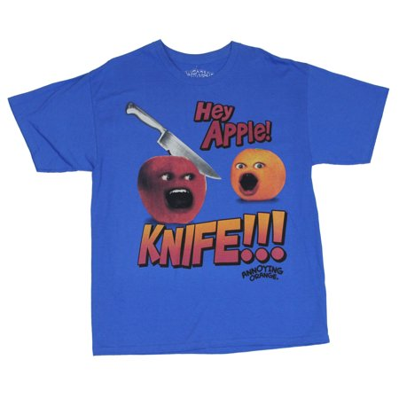 Annoying Orange (Internet Meme) Mens T-Shirt  - Hey Apple! Knife!! Image on