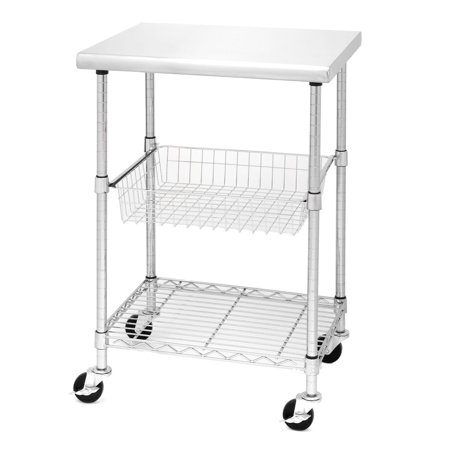 Porch Den Chesterfield Allerton Stainless Steel Kitchen Work Table - Stainless steel kitchen work table cart