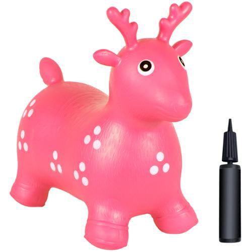 Kids Pink Deer Hopper, Inflatable Jumping Deer Ride-on Bouncy Pump Included