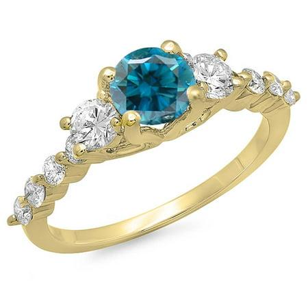 Dazzlingrock Collection 1.50 Carat (ctw) 14K Blue & White Diamond Bridal 3 Stone Engagement Ring 1 1/2 CT, Yellow Gold, Size 9.5